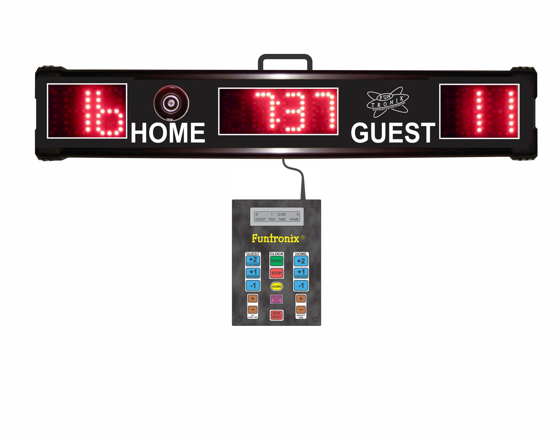 Portable Scoreboard front view with keypad