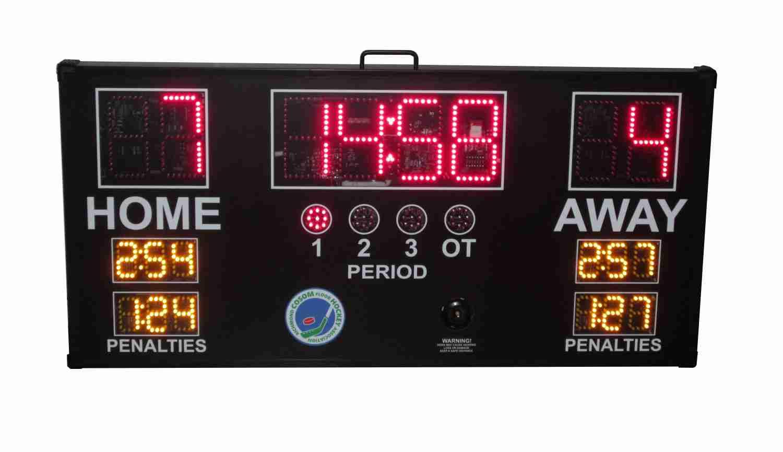 Hockey scoreboard with penalties
